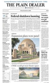 The Plain Dealer's front page for December 21, 2018