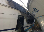 Multiple boats heavily damaged after fire at Kings Landing Marina in Norwell