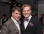 Bryan Batt and friends celebrate at opening night of 'An Act of God'