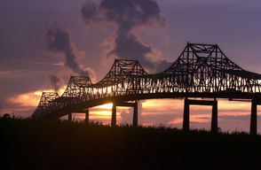 The Sunshine Bridge in Donaldsonville is closed after being struck Friday (Oct. 12) by a barge carrying a crane.
