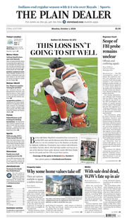 The Plain Dealer's front page for October 1, 2018