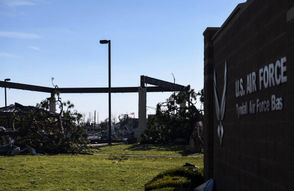 Tyndall Air Force Base near Panama City, Florida suffered massive damage during Hurricane Michael with several military aircraft housed at the base destroyed in the storm.