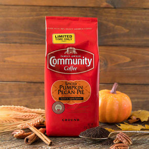 Community Coffee The local coffee maker is selling pumpkin pecan pie ground coffee with hints of pumpkin spice and pecan pie to make at home. K-pods for Keurig brewers area available as well.