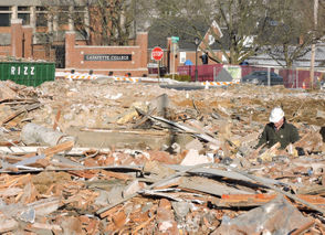 In a matter of days, a block of Lafayette College-owned homes came crashing down.