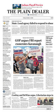 The Plain Dealer's front page for October 5, 2018