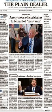 The Plain Dealer's front page for September 6, 2018