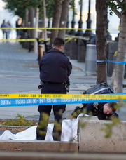 Eight dead after terror suspect drove truck into pedestrians and cyclists near World Trade Center memorial