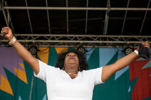 Nora Jean Bruso performs at the 49th annual Ann Arbor Blues Festival at the Washtenaw Farm Council Fairgrounds in Ann Arbor on Saturday, Aug. 18, 2018. (Ben Allan Smith/MLive.com)