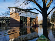 Kayakers explore Michigan State's flooded campus