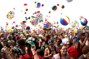 It may be one of the largest beach ball parties ever as the inflatable objects appeared while the band Phish took the stage at Super Ball IX at Watkins Glen International Speedway Saturday July 2, 2011. Close to 60,000 were attended the three day event.