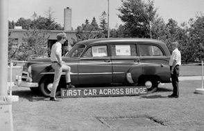 Al Carter drove the first car across the Mackinac Bridge on November 1, 1957.