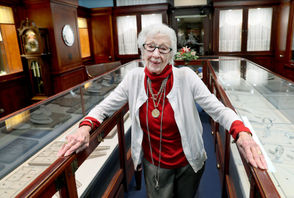 "CLEVELAND, Ohio – Virginia Tanno McMonagle beamed with a gracious  smile, fine-tuned by nearly seven decades of customer service, as she  recently stood in the nearly empty Rickey C. Tanno Jewelers shop, steeped in the marbled, wood-paneled aura of the historic Union Trust building at East 9th Street and Euclid Avenue. The  shop, one of the last in the 1924 building's ground-level arcade, is a  survivor of bygone retailing history, when downtown Cleveland surged  with shoppers, chauffeurs, trolleys and boom times. The  100-year-old McMonagle spread her arms wide, embracing the surrounding  custom cabinetry from another era, and quipped, ""It's a historic  landmark. I think I'M a historic landmark, too."""