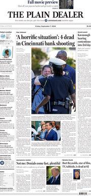The Plain Dealer's front page for September 7, 2018