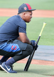 That sound you hear is Cleveland Indians' Jose Ramirez drilling the baseball and his thigh