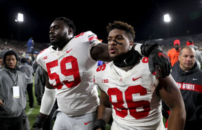 Isaiah Prince (59), defensive tackle Dre'Mont Jones (86) and the Ohio State Buckeyes will slide down the polls after their first loss Saturday night. (Marvin Fong, The Plain Dealer)