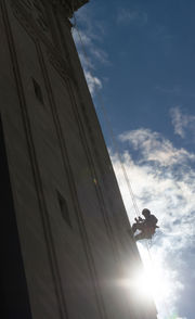 Workers on ropes tackle repair work on Springfield's Campanile (photos)