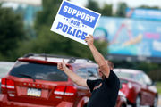 100-plus protestors rally in support of officer charged in South Whitehall shooting