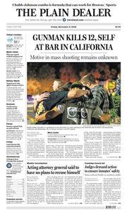 The Plain Dealer's front page for November 9, 2018