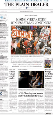 The Plain Dealer's front page for September 10, 2018