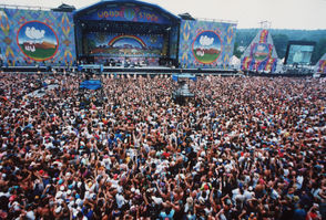 Crowd at the North Stage of Woodstock '94 Saturday, August 13th 1994, in Saugerties, N.Y. New York State Police estimated the attendance of the three-day festival at 250,000 people.