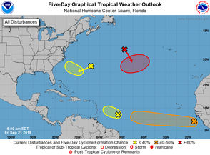 The tropics are heating up again, with forecasters tracking four systems in the Atlantic on Friday morning (Sept. 21). Two of the systems could develop into depressions early next week. It's still too early to tell where the systems may go if they develop, but they don't pose any immediate threat to land. On the National Hurricane Center's five-day forecast map, the shaded areas show where tropical depressions could form. The shaded areas are not forecast tracks, which are normally issued when the storm strengthens or is about to strengthen to a depression. Here's what we know about the systems as of 7 a.m. from the National Hurricane Center.