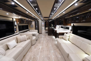 Arrive in style in the Tiffin Alegro Bus from Dixie RV. Powered by a 450HP Cummins Diesel engine, this luxury motorhome sleeps 6, offers one and half baths, washer and drye and marble floors. The bathes are beautifully appointed with a full glass shower of the master suite. It all rides on Tiffin's Powerglide chassis. Check with the Dixie customer desk for the best show price. (Joe Songer   jsonger@al.com).