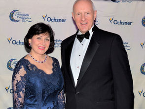 New Orleans Saints and Pelicans owner Gayle Benson hosted the Moonlight & Miracles Gala in the Mercedes-Benz Super Dome. She is pictured with Warner Thomas, president/CEO of the Ochsner health system.