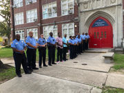 Over a dozen officers greet daughter of slain officer on 1st day of school