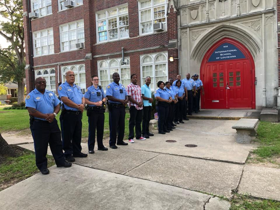 Over a dozen NOPD officers greeted the daughter of slain officer Marcus McNeil on the girl's first day of school.