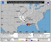Gordon nears Mississippi-Alabama coast at near-hurricane strength