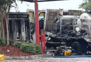 Man burned, truck destroyed by fire in Popeye's drive-through near UNO: photos