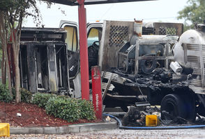 A truck catches fire in the drive-through of the Popeye's in the 6200 block of Elysian Fields Avenue 10/17/18