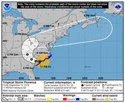 Tropical Storm Florence tracks into South Carolina; flooding threat grows