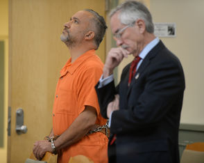 Isaias Garza, 50, of Vineland, appears before judge Joseph Chiarello in Cumberland County Superior Court for a detention hearing, Monday, Oct. 22, 2018. Garza, a teacher in the Bridgeton school district is being charged with sexual assault of 2 former students.