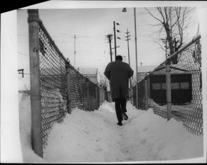 Snow obstacle course to Rapid Transit off Tuckahoe Ave. in 1968.