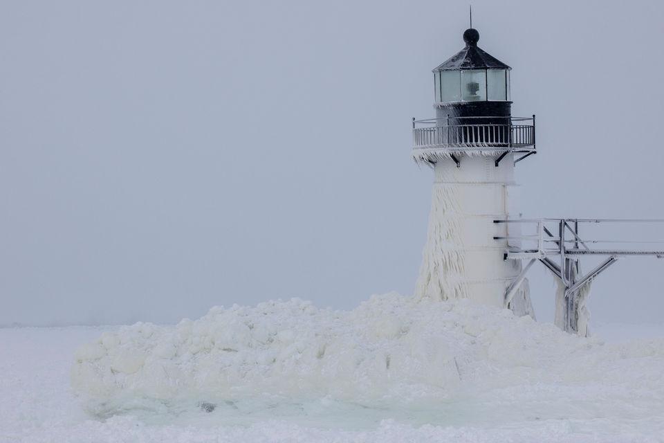 Frigid polar air creates spectacular ice formations at Lake