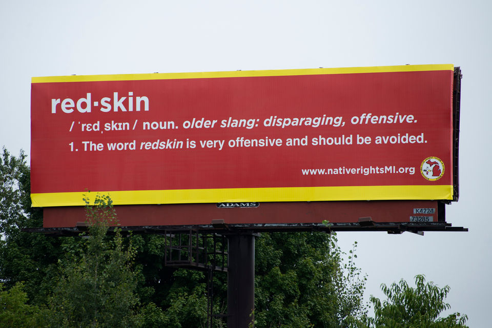 Michigan Coalition Against Racism in Sports & Media posted billboard in response to Paw Paw High School athletics.