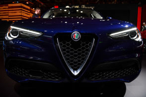 An Alfa Romeo Stelvio at the 2019 North American International Auto Show at Cobo Center in Downtown Detroit Tuesday, Jan. 15, 2019.