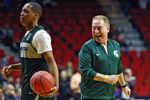 Michigan State coach Tom Izzo laughs during their open practice at Wells Fargo Arena in Des Moines, Iowa on Wednesday, March 20, 2019. (Mike Mulholland | MLive.com)