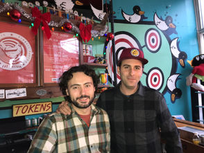 When not decorating Gordon Square with a 14-foot tall paddleboard racquet, David Spasic and Nathan Murray run Superelectric Pinball there.
