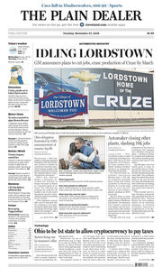 The Plain Dealer's front page for November 27, 2018