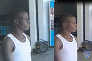 Surveillance cameras captured images of a man suspected of setting fire to the Halloween section at a Marrero Walmart.